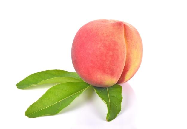 Fresh peach fruit on white background
