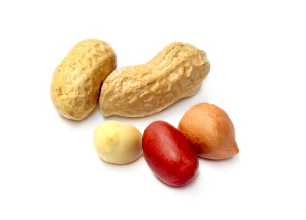 Fresh peanuts  on white background