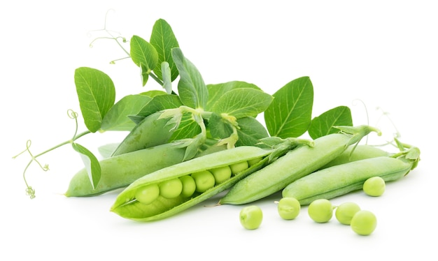 Fresh peas fruit with green leaves on white.
