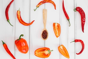 Fresh peppersand spices in spoon