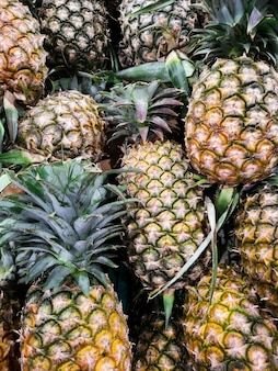 Fresh pineapple for sale in the market.