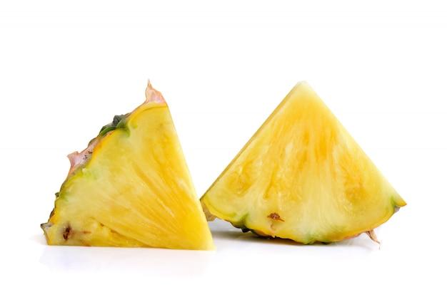 Fresh pineapple slice isolated on white