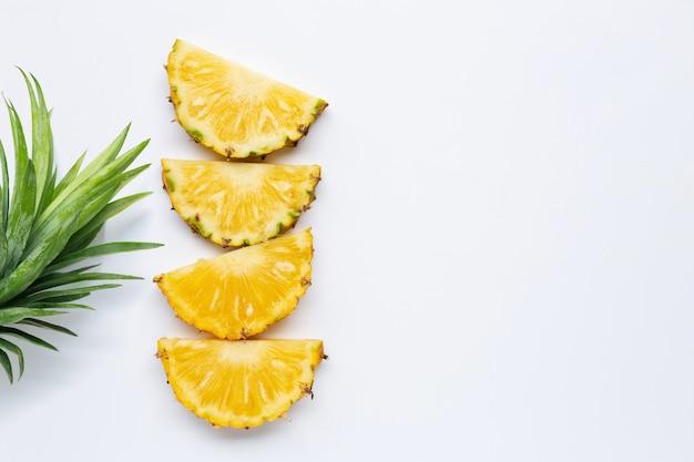 Fresh pineapple on white.