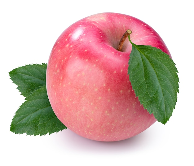 흰색 배경에 리프와 신선한 핑크 애플, 후지 애플 흰색 배경에 고립. 클리핑 패스.