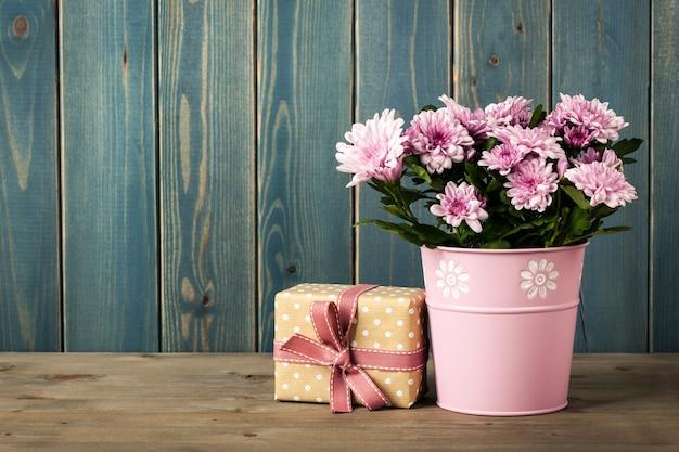 양동이와 선물 상자에 신선한 분홍색 국화 꽃