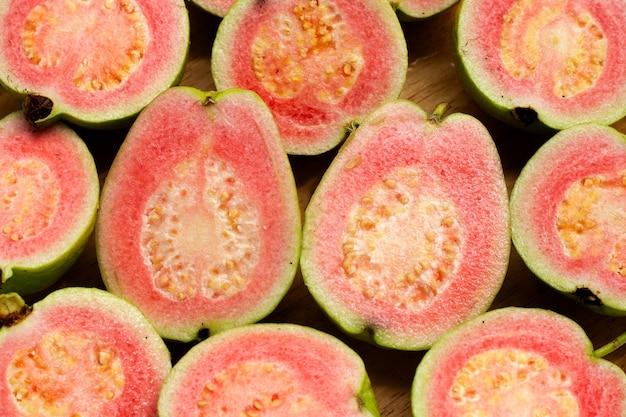 Fresh pink guava. close up