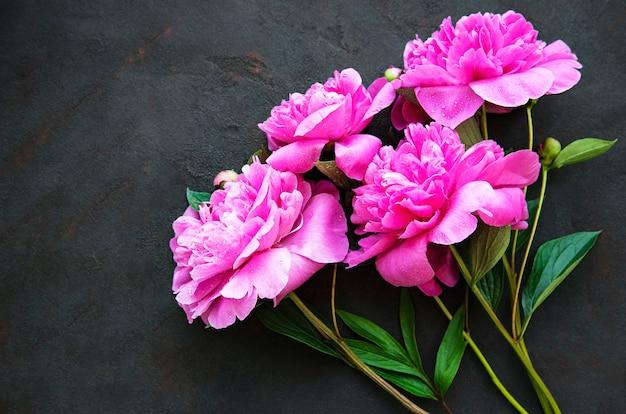 Fresh pink peony flowers on black table, flat lay.