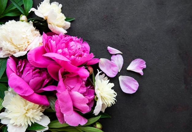 Fresh pink peony flowers border with copy space on black background, flat lay.