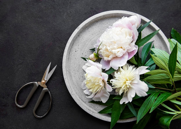 Fresh pink peony flowers on a concrete plate, flat lay.
