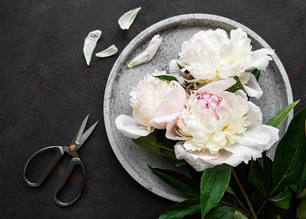 Fresh pink peony flowers