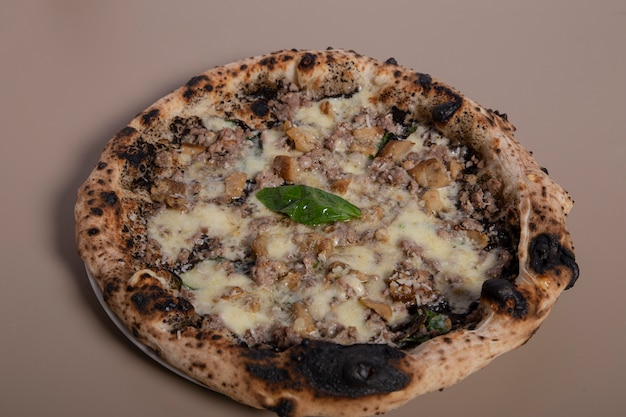 Fresh pizza with pork, porcini and iberian cream. horizontal top view from above.