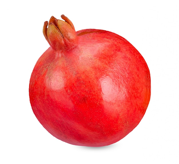 Fresh pomegranate isolated on white clipping path