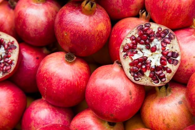 Fresh pomegranate on the market