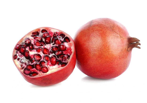 Fresh pomegranate on a white background.