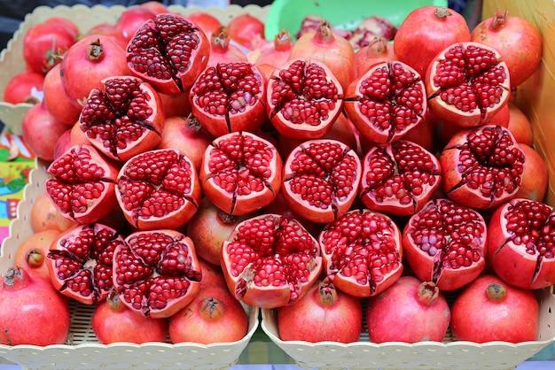 Fresh pomegranates background