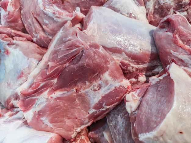 Fresh pork for sale in the market.