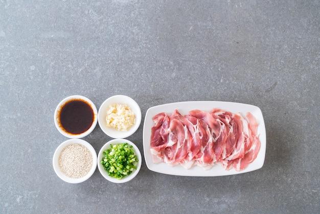 Fresh pork sliced