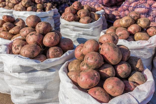 Свежий картофель в мешках продается на оптовом овощном рынке