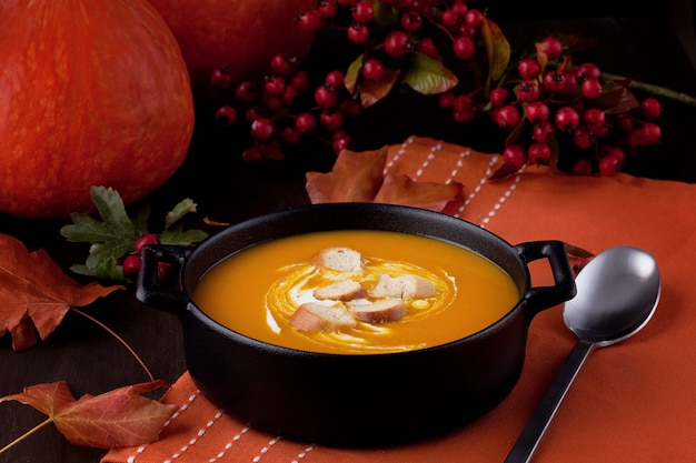Fresh pumpkin soup. healthy seasonal food concept