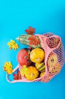 Fresh pumpkins in shopping ecofriendly mesh bag, autumn leaves