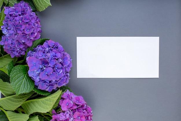 灰色の表面に新鮮な紫色のアジサイ