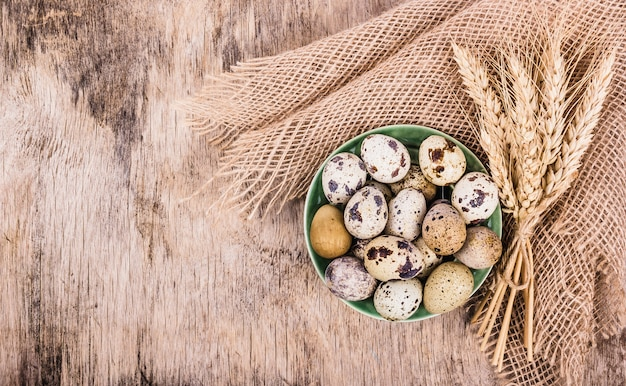 Fresh quail eggs and ears of wheat on wooden board