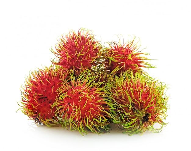 Fresh rambutan sweet delicious fruit on white