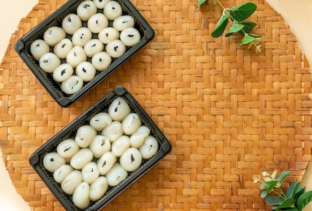 Fresh rambutans in box