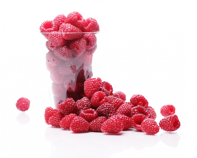 Fresh raspberries in the glass