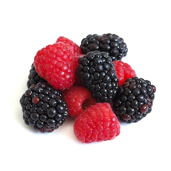 Fresh raspberry and blackberry on wooden background, healthy food and diet.