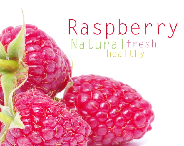 Fresh raspberry closeup isolated on white surface