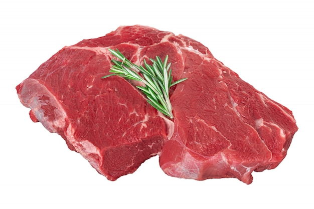 Fresh raw beef meat with rosemary isolated on white