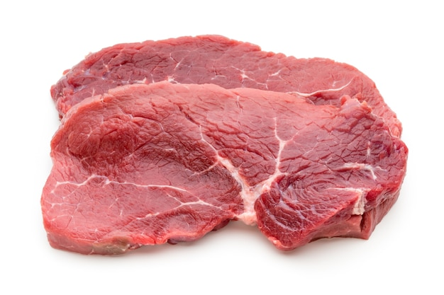 Fresh raw bio beef steak isolated on white.