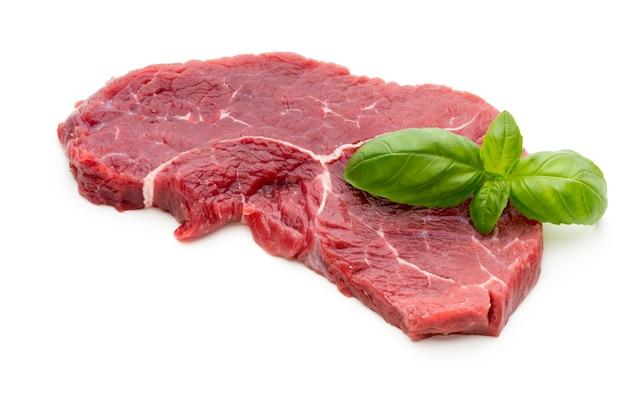 Fresh raw bio beef steak isolated on white.