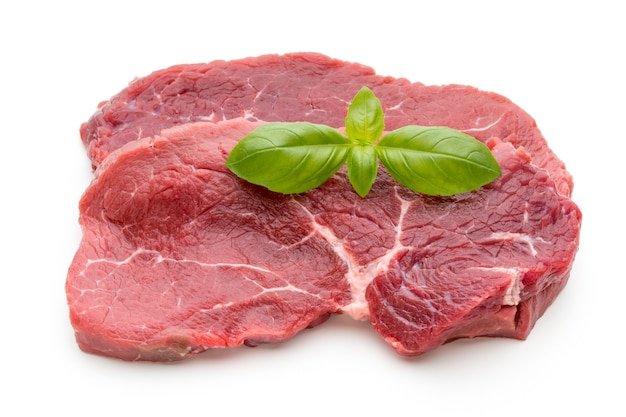 Fresh raw bio beef steak isolated
