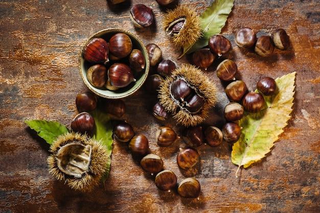 Fresh raw chestnuts