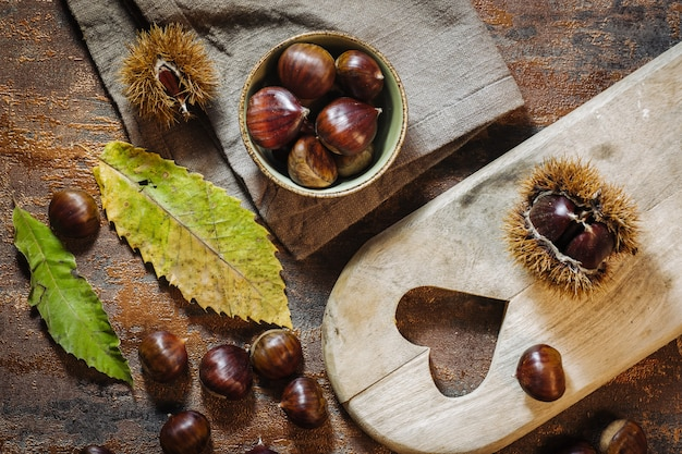 Fresh raw chestnuts