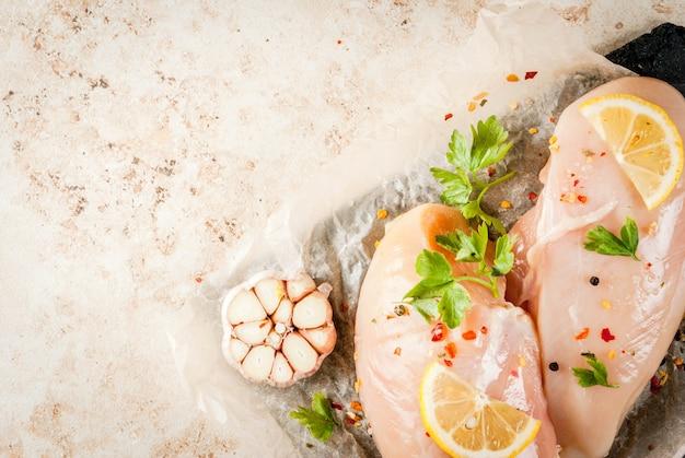 Fresh raw chicken fillet breast