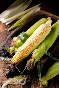 나무 배경에 신선한 생 옥수수 cobs입니다. 건강 식품, 채식주의 개념입니다.