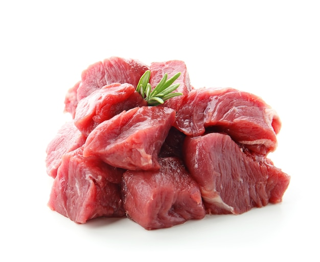 Fresh raw cut meat on white