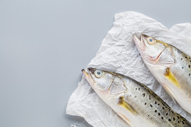 Fresh raw fish on gray background