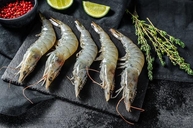 Fresh raw giant langoustine shrimp. top view