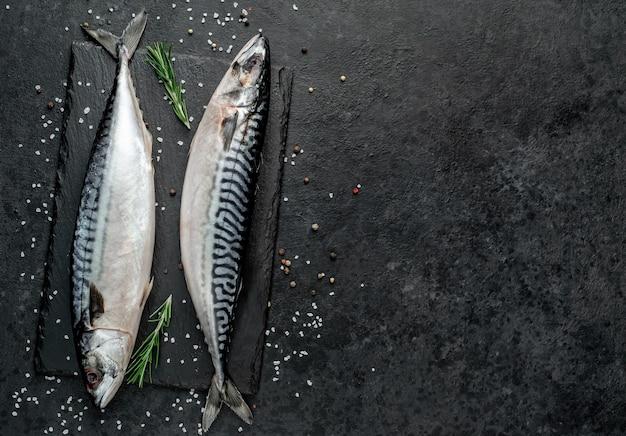 텍스트 복사 공간 돌 배경에 신선한 생 고등어 생선