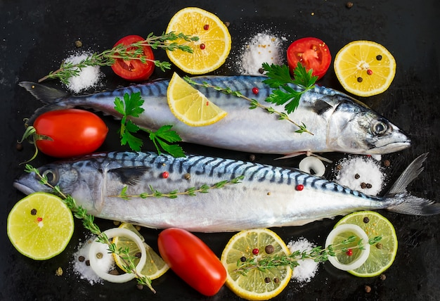 Fresh raw mackerel with vegetables on a black metal background