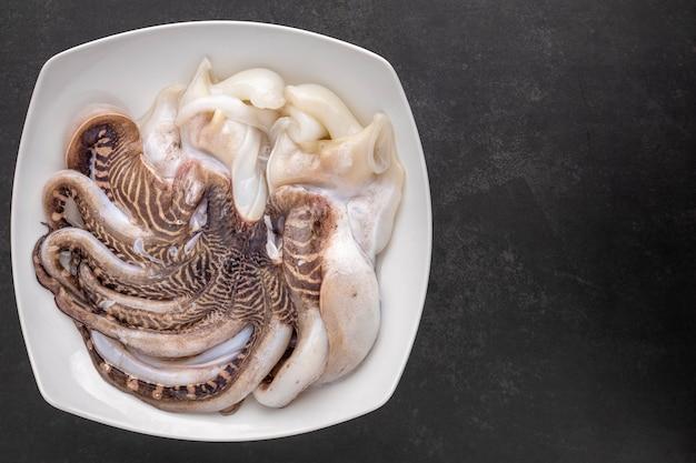 Свежий сырой осьминог в керамической тарелке на темно-сером фоне текстуры с копией пространства для текста