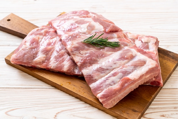 Fresh raw pork ribs