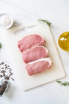 Fresh raw pork steaks