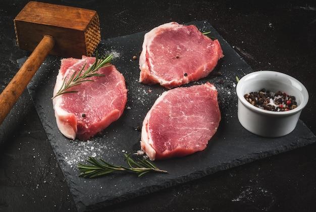 Fresh raw pork, steaks