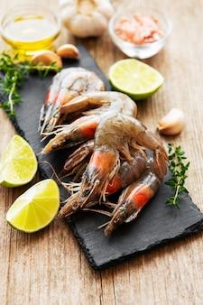 Fresh raw prawns