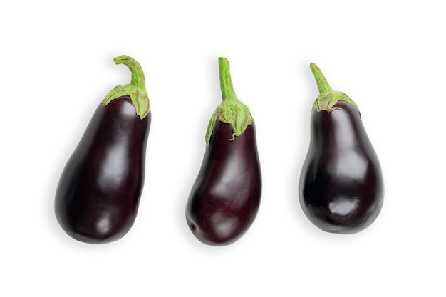 Fresh and raw purple eggplants isolated